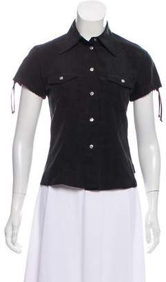 Fendi Short Sleeve Button-Up Top