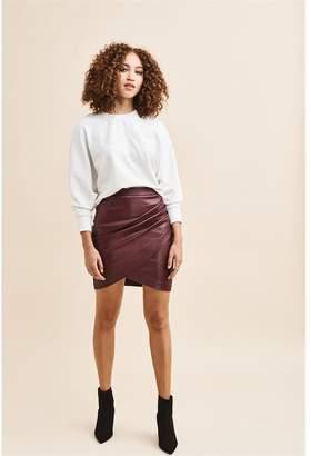 8714f8e7b9 Dynamite Faux Leather Wrap Skirt Rich Maroon