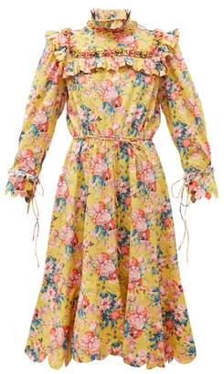 Horror Vacui Hilaria Peony Print Cotton Dress - Womens - Yellow Multi