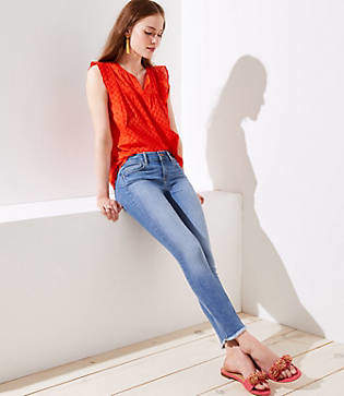 LOFT Petite Modern Frayed Skinny Jeans in Refined Mid Indigo Wash