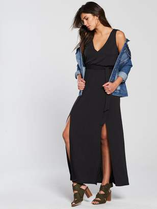 Very Split Front Cupro Maxi Dress