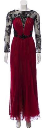 Tadashi Shoji Embellished Long Sleeve Gown