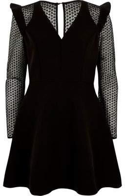 River Island Black lace long sleeve frill skater dress