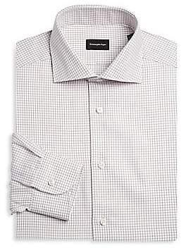 Ermenegildo Zegna Men's Brown Grid Cotton Dress Shirt