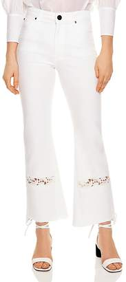 Sandro Telia Appliquéd Cropped Flared Jeans in White