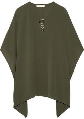 MICHAEL Michael Kors - Embellished Stretch-crepe Blouse - Army green $100 thestylecure.com