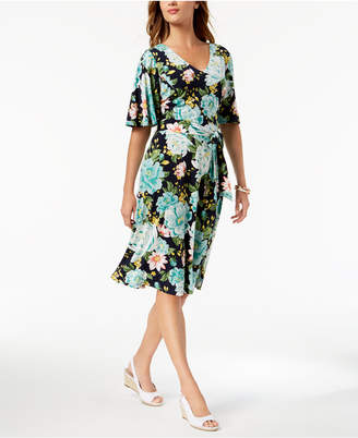 Charter Club Petite Floral-Print Flutter-Sleeve Dress, Created for Macy's