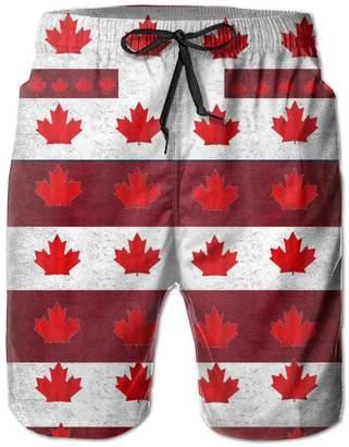 Trunks BOWENSS Canadian Flag Pattern Men's Water Sports Beach Shorts