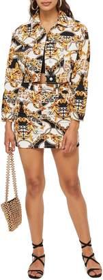 Topshop Chain Print Denim Miniskirt