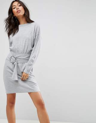 Asos Knitted Dress With Batwing And Ring Detail