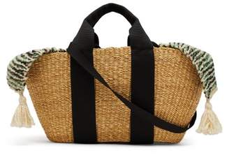 Muuñ - George Tile Cotton Knit And Woven Straw Bag - Womens - Green Multi