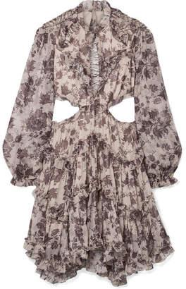 Zimmermann Juno Open-back Ruffled Silk-crepon Mini Dress