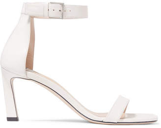 Stuart Weitzman Squarenudist Leather Sandals - White