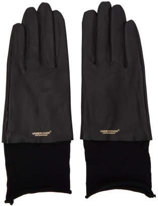 Undercover Black Leather Logo Gloves