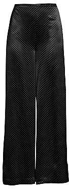 Ganni Women's Heavy Satin Wide-Leg Polka Dot Pants