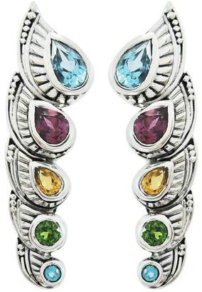 Samuel B Jewelry Sterling Silver Pear-Cut Multi-Stone Crawler Earrings