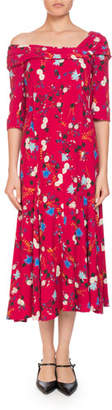 Erdem Iman One-Shoulder Half-Sleeve Garden Floral-Print A-Line Dress