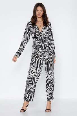 Nasty Gal On the Jump Zebra Jumpsuit