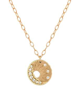 Celine Daoust Baby Diamond Sun and Moon Necklace - Yellow Gold