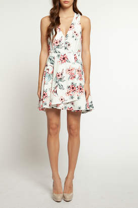 Dex Floral A-line V Neck Dress
