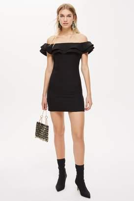 Topshop Ruffle Bardot Mini Dress
