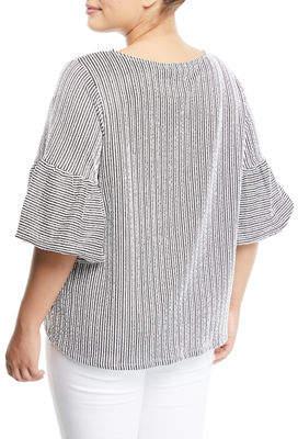 Iconic American Designer Puff-Sleeve Striped Seersucker Blouse, Plus Size