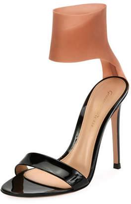 Gianvito Rossi Patent and Latex Two-Tone Sandals, Black