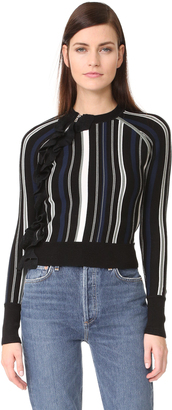 3.1 Phillip Lim Striped Ruffle Sport Pullover with Zippers $495 thestylecure.com