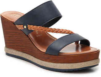 Women's Italian Shoemakers Presley Wedge Sandal -Navy $55 thestylecure.com