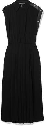 Givenchy Leather-trimmed Pleated Jersey Midi Dress - Black