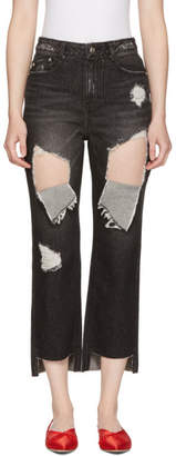 Sjyp SSENSE Exclusive Black Ripped Boyfriend Jeans