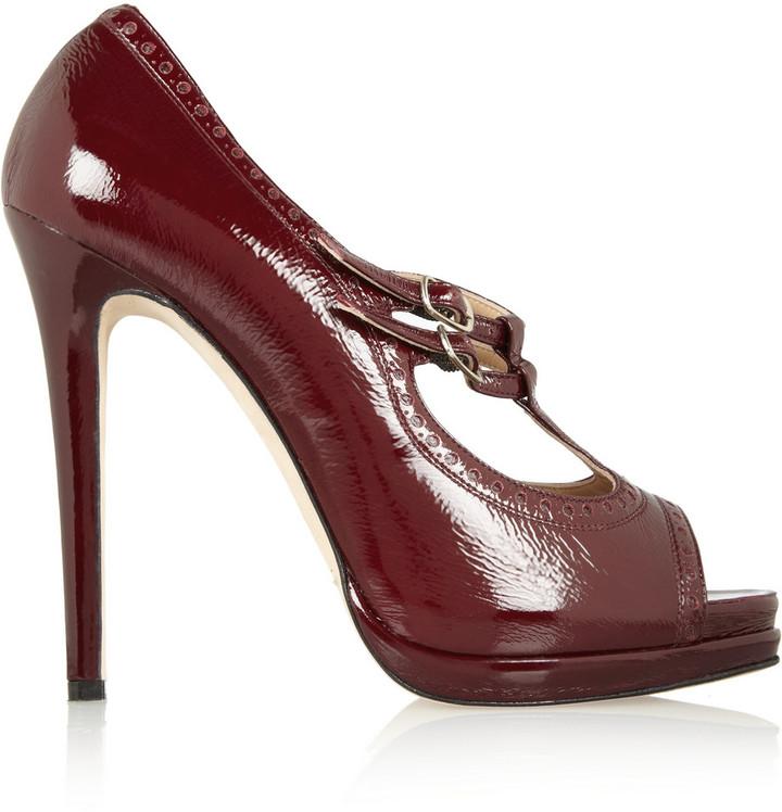 Oscar de la Renta Lavonne patent-leather Mary Jane pumps