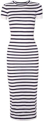 Paco Rabanne Striped Jersey Midi Dress - Navy