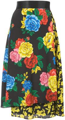 Alice + Olivia Alice+Olivia Camellia bouquet print skirt