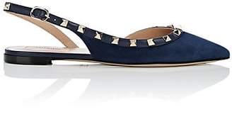 Valentino Women's Rockstud Suede Slingback Flats - Navy