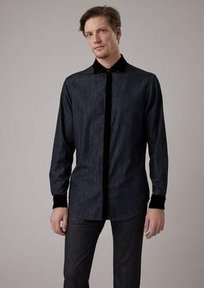 Giorgio Armani Denim Cotton Shirt With Velvet Neck And Cuffs