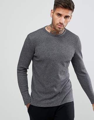 New Look Long Sleeve Waffle Knit Top In Gray