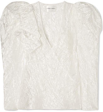 Carmen March - Wrap-effect Ruffled Crinkled-taffeta Blouse - White