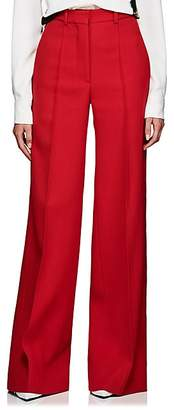 Victoria Beckham Women's Virgin Wool Twill Flared Trousers - Red