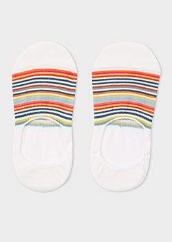 Paul Smith Women's Écru Multi-Colour Striped Loafer Socks