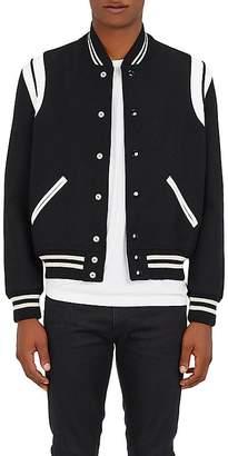 Saint Laurent Men's Classic Teddy Tweedy Wool-Blend Bomber Jacket
