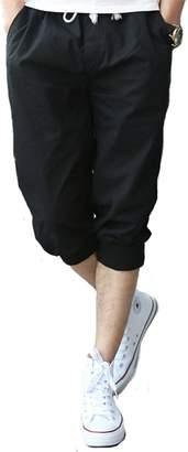 Tonwhar Mens Fashion Capris Shorts Elastic Waist Drawstring 3/4 Length Pants