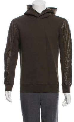 Helmut Lang Leather-Accented Pullover Hoodie