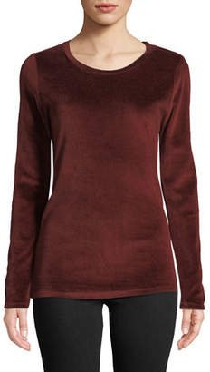 Neiman Marcus Majestic Paris for Long-Sleeve Velour Crewneck Top