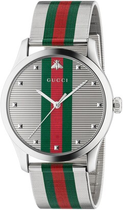 Gucci G-Timeless Bee Stripe Mesh Band Watch, 42mm