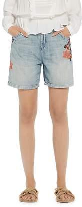Scotch & Soda Floral Embroidered Boyfriend Denim Shorts in Blue