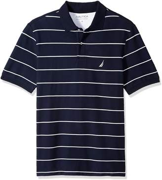 Nautica Men's Big and Tall Classic Short Sleeve Striped Polo Shirt, red, 6X