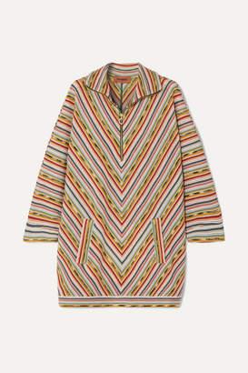 Missoni Draped Striped Crochet-knit Wool-blend Mini Dress - Light green