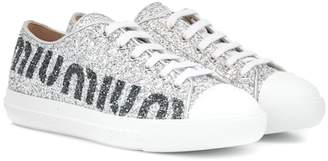 Miu Miu Logo glitter sneakers