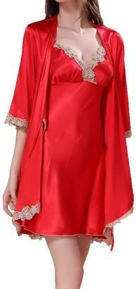 32764cd692ba LAPAYA Women's Satin Sleepwear 2 Piece Set Lace Silk Cami Nightgown and Robe